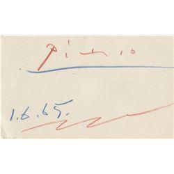 Pablo Picasso autograph notecard.