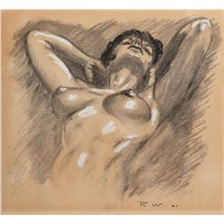 Raoul Walsh reclining nude female artwork.