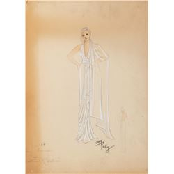 "Kay Francis ""Nicole Picot"" costume sketch by Orry-Kelly for Stolen Holiday."