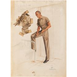 """Gary Cooper """"Dr. Corydon M. Wassell"""" costume sketch for The Story of Dr. Wassell."""