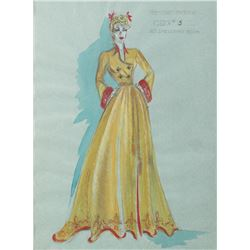 """Constance Moore """"Belle Malone"""" costume sketch by Adele Palmer from In Old Sacramento."""