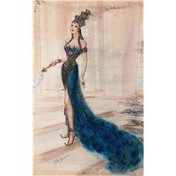 """Hedy Lemarr """"Delilah"""" costume sketch for Samson and Delilah."""
