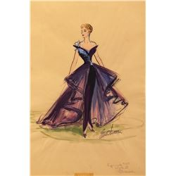 """Lucille Ball """"Lucy"""" costume sketch by Elois Jenssen for I Love Lucy."""