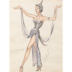 """Dorothy Lamour """"Princess Lala"""" costume sketch by Pat Barto for Edith Head from Road to Bali."""