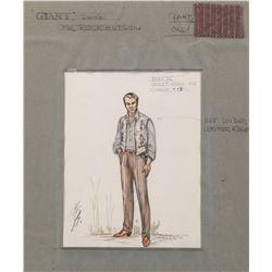 "Rock Hudson ""Bick"" costume sketch designed by Marjorie Best for Giant."
