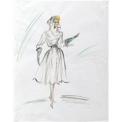 """Kim Novak """"Madeleine Elster / Judy Barton"""" costume sketch by Edith Head for Vertigo."""