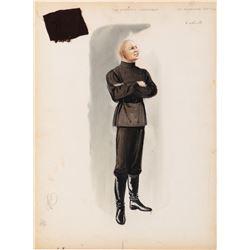 """Yul Brynner """"Dmitri Karamazov"""" costume sketch by Walter Plunkett for The Brothers Karamazov."""