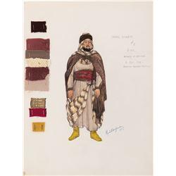 "Hugh Griffith ""Sheik Ildirim"" costume sketch for Ben-Hur."