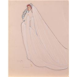 """Rosalind Russell """"Dr. Lane"""" costume sketch by Howard Shoup for She Wouldn't Say Yes."""