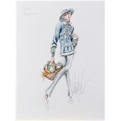 Marlene Dietrich personal fashion design sketch by Donfeld.