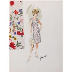"""Sandra Dee """"Chantal Stacy"""" costume sketch by Jean-Louis for If A Man Answers."""