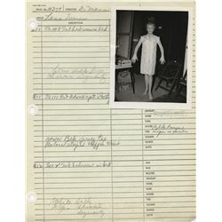 """Lana Turner """"Melanie"""" (18+) costume sheets with photographs for Who's Got the Action?"""