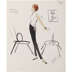 Pair of Edith Head sketches of Janet Leigh from Wives and Lovers.