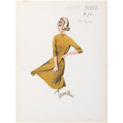 """Debbie Reynolds """"Mary"""" costume sketch by William Travilla for Mary, Mary."""