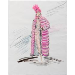 """Shirley McClaine """"Louisa May Foster"""" costume sketch by Edith Head for What a Way to Go."""