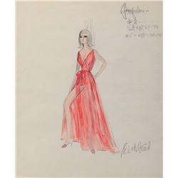 """Dany Saval """"Jacqueline Grieux"""" costume sketch by Edith Head from Boeing, Boeing."""