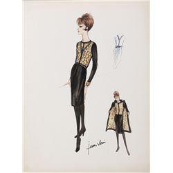 "Gina Lollobrigida ""Toni Vincente"" costume sketch by Jean-Louis from Strange Bedfellows."