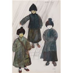 Chinese Civilian costume sketches by Theodora Van Runkle for The Sand Pebbles
