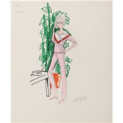 """Elke Sommer """"Kay Bergdahl"""" pair of costume sketches by Edith Head for The Oscar."""