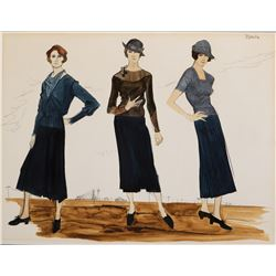 """Estelle Parsons as """"Blanche"""" triple costume sketch by Theodora Van Runkle for Bonnie and Clyde."""