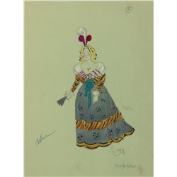 Cecil Beaton costume sketch for a background player in On a Clear Day You Can See Forever.