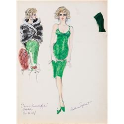 """Ann-Margaret """"Bobbie"""" costume sketch by Anthea Sylbert for Carnal Knowledge."""