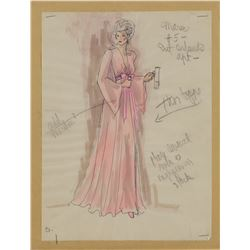 """Jo Anne Meredith """"Marie"""" (2) costume sketches by Edith Head for The Don is Dead."""