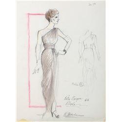 "Polly Bergen ""Rhoda Henry"" costume sketch by Robert Fletcher for The Winds of War."