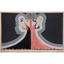 """Folies Bergere costume design for """"Blonde and Brunette"""" by Dany."""