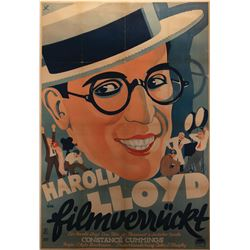 Harold Lloyd personal German 1932 oversize reissue poster for Movie Crazy.