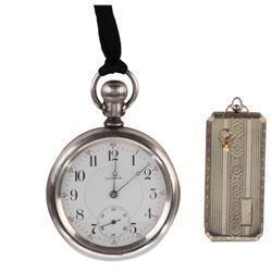 Harold Lloyd personal Elks Lodge pocket watch and membership locket.