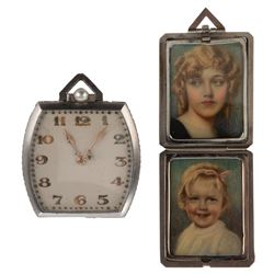 Harold Lloyd personal monogrammed diamond edged pocket watch and monogrammed locket.