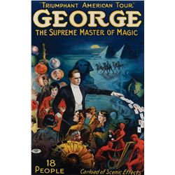 """""""George: The Supreme Master of Magic"""" stage performance poster."""