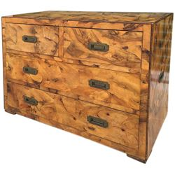 Howard Hughes personal Italian burlwood chest of drawers.