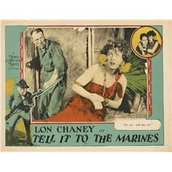 Lon Chaney lobby card for Tell it to the Marines.