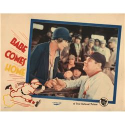 Babe Ruth color lobby card for Babe Comes Home.