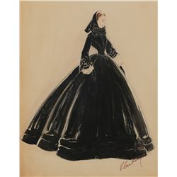 """Walter Plunkett costume sketch of Vivien Leigh as """"Scarlett O'Hara"""" for Gone With the Wind."""
