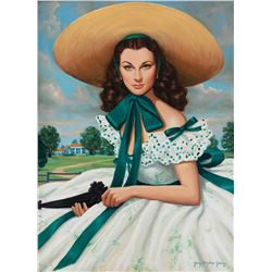 """Vivien Leigh """"Scarlett O'Hara"""" portrait from Gone With the Wind by portraitist Gary George."""