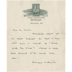 Sidney Howard rare handwritten signed letter regarding Gone With the Wind related script revisions.