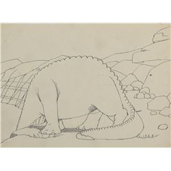 """Winsor McCay (2) production drawings of """"Gertie the Dinosaur""""."""
