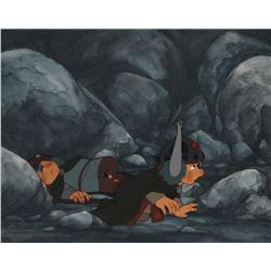 """Frodo"" and ""Samwise"" production cel on matching production background from The Return of the King."