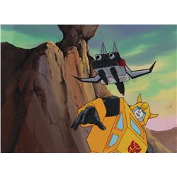 """Bumblebee"" production cel on a matching production background from The Transformers: G1."