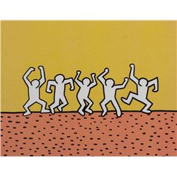 """Keith Haring Foundation production cel &drawing for the Sesame Street segment, """"5 Dancing Men""""."""