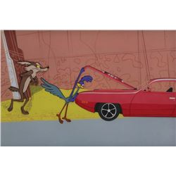 """Road Runner"", ""Coyote"" and ""Plymouth"" production cels from a Road Runner car commercial."