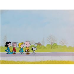 """""""Snoopy"""", """"Charlie Brown"""", """"Linus"""", """"Lucy"""" & """"Sally"""" production cel & b/g from a Peanuts TV Special."""