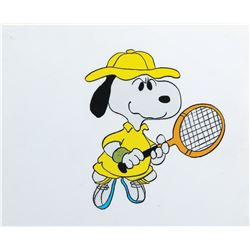 """Snoopy"" tennis production cel from You're a Good Sport, Charlie Brown."