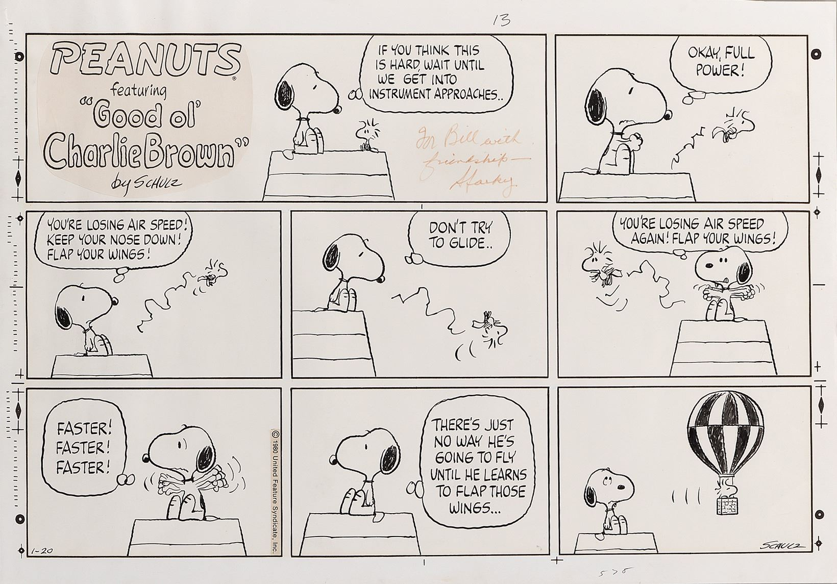 """Image 1 : Charles Schulz original Peanuts Sunday comic strip featuring  """"Snoopy"""" and """""""