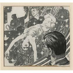 "Virgil Finlay original illustration for Thrilling Wonder Stories story ""Process Shot""."