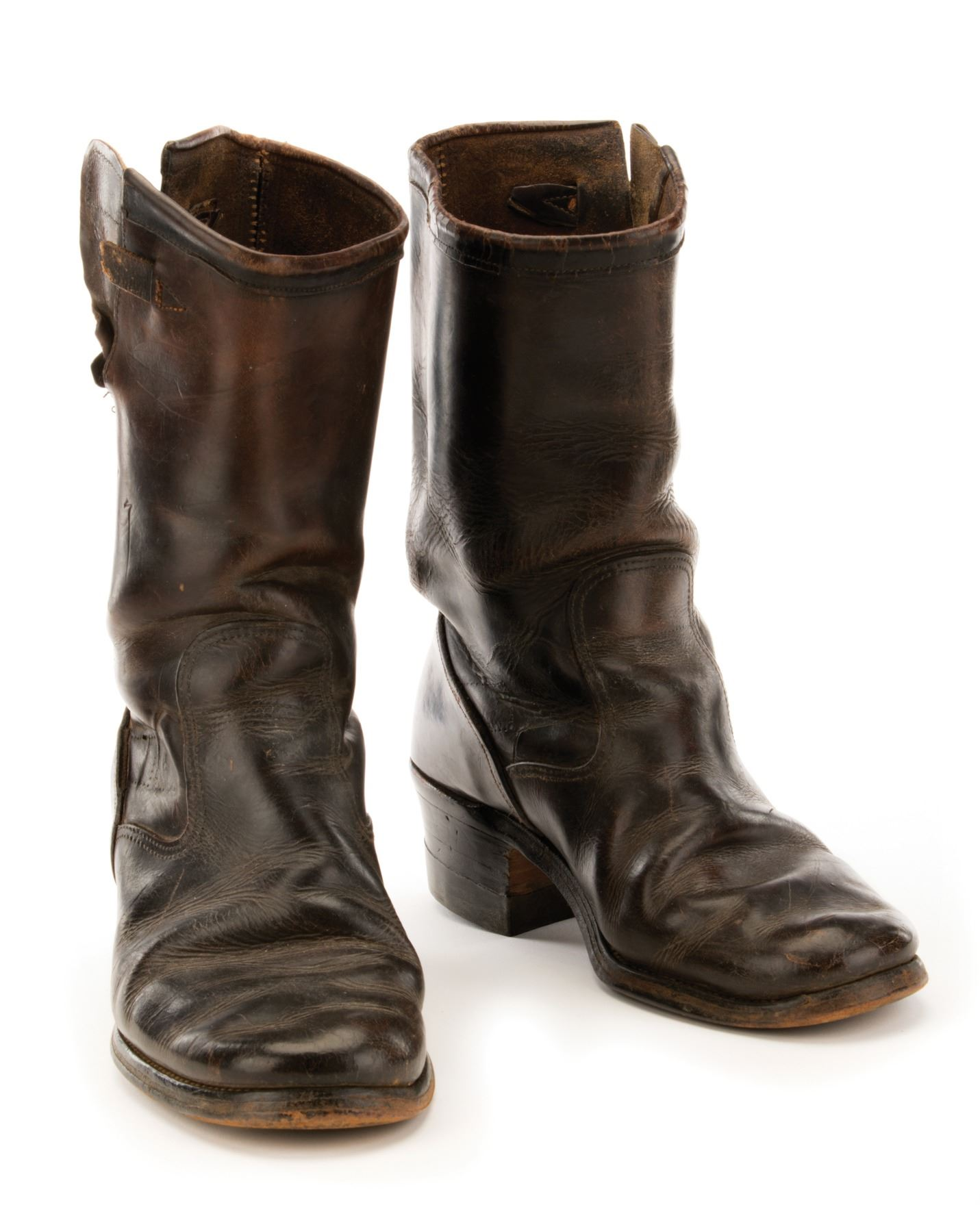 e0d543d72e4 James Dean worn and weathered motorcycle boots.