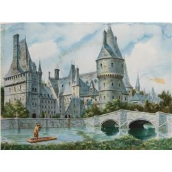 Medieval castle exterior painting by David A. Constable.